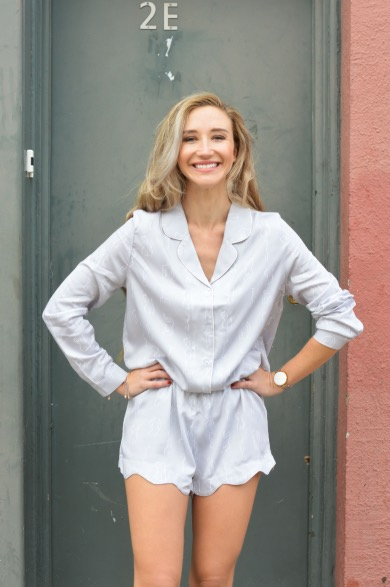 Malée Natural Science International Women's day Nina Clark founder of Nightire wearing pyjama set short