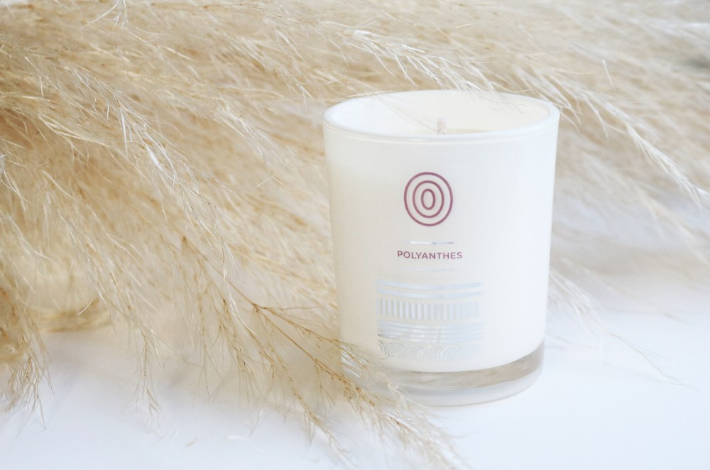 Polyanthes Soybean Candle, made from 100% soybean oil.